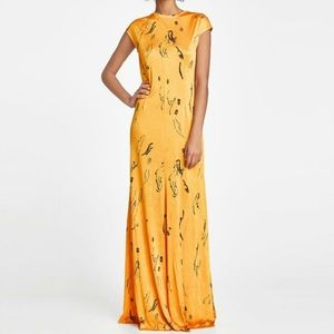 ZARA WOMAN rich yellow abstract printed max